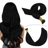 YoungSee Black I Tip Hair Extensions Human Hair 24inch Fusion Hair Extensions Itip Human Hair Jet Black Hair Extensions Pre Bonded Human Hair Extensions I Tip Extensions 50strands 50gram