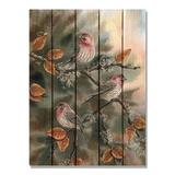 Winston Porter 'Bartholet's House Finches' Print on Wood Wood in White, Size 36.0 H x 28.0 W x 1.0 D in | Wayfair 816CFD78190247ACBF6699A662162BFE