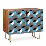East Urban Home Gabriela Fuente Cube Play Credenza Wood in Black/Blue/Brown, Size 31.0 H x 38.0 W x 20.0 D in | Wayfair