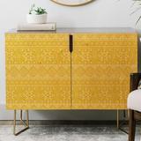 East Urban Home Heather Dutton Grand Bazaar Goldenrod Credenza Wood in Brown/Yellow, Size 31.0 H x 38.0 W x 20.0 D in | Wayfair