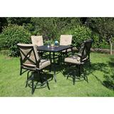 Darby Home Co Kemper 5 Piece Bar Height Dining Set w/ Cushions Metal in Yellow, Size 42.0 H x 42.0 W x 42.0 D in | Wayfair
