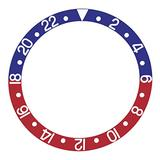Bezel Insert Compatible with 44mm Alpha GMT Diver Automatic Watch Blue/Red Silver Font