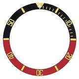 Bezel Insert Compatible with Rolex Submariner 5508 5512 5513 1680 Black/Red Watch Gold Fonts