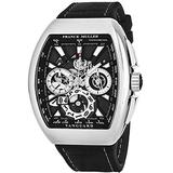 Franck Muller Vanguard Grande Date Mens Automatic Chronograph Watch - Tonneau Stainless Steel Skeleton Face with Luminous Hands and Sapphire Crystal - Black Band Swiss Made Automatic Watch for Men