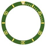 Bezel Insert Compatible with 40mm Invicta 8929Ob Pro Diver Automatic Watch Green Gold Font