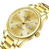 Men's Business Watch Gold Dial 18k Gold Ion-Plated Stainless Steel Watch Two-Tone Automatic Watch (Gold)