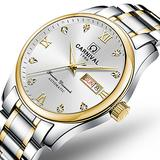 Men's Business Watch Gold Dial 18k Gold Ion-Plated Stainless Steel Watch Two-Tone Automatic Watch (Two-Tone)