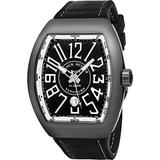 Franck Muller Vanguard Glacier PVD Automatic Watch - Tonneau Analog Black Face Mens Watch with Luminous Hands, Date and Sapphire Crystal - Black Band Swiss Made Luxury Watch for Men V 45 SC DT AC GL