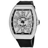 Franck Muller Vanguard Iron PXL Mens Automatic Watch - Tonneau Checkered Fashion Watch with Luminous Hands, Date and Sapphire Crystal - Black Band Swiss Made Luxury Watch for Men V 45 SC DT AC NR
