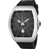 Franck Muller Vanguard Automatic Watch - Tonneau Analog Black Face Mens Watch with Luminous Hands, Date and Sapphire Crystal - Black Band Swiss Made Luxury Automatic Watch for Men V 45 SC DT AC NR