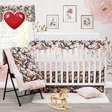 Brandream Shabby Ruffled Floral Baby Girl Crib Bedding Sets Vintage Farmhouse Country Style Nursery Bedding Set Blush Navy 100% Cotton, 7PCS