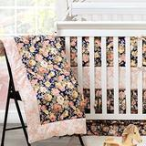 Brandream Crib Bedding Sets for Baby Girls with 2 Packs Crib Sheets 100% Cotton Navy Blush Pink Floral Nursery Bedding Skirt Set 4 Pieces