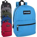 24 Pack- Classic 17 Inch Backpacks in Bulk Wholesale Back Packs for Boys and Girls (Assorted 6 Color Pack)