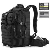 Gelindo Military Tactical/Hydration Backpack for Hunting/Survival with Flag Patches of 2(Black), Black (345678)