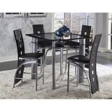 Latitude Run® Byxbee 5 Piece Pub Table Set Glass/Metal/Upholstered Chairs in Black/Gray, Size 36.0 H in | Wayfair 536C50BA41924CF58320F41976B67F82