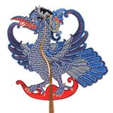 Leather shadow puppet, 'Blue Jatayu'