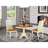 East West Furniture 3-Piece Modern Dinette Set Included a Round Dining Room Table and 2 Dining Chairs - Cherry Solid Wood Dining Room Chairs Seat & Slatted Back - Buttermilk Finish