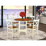 5 Piece Sudbury Set With One Round Counter Height Dinette Table And 4 X back Dinette Stools With Wood Seat In A Warm Buttermilk and Cherry Finish.