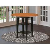 Sudbury round counter height Table with two shelves in Black & Cherry finish