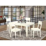 WEAD5-WHI-LC 5 Piece Dinette Set With One Weston Dining Room Table And 4 Solid Faux Leather Seat Dining Area Chairs Finished In A Distinctive Linen White Color.