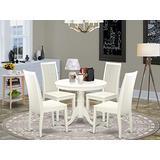 East West Furniture Round Set-4 Excellent Dining Room Chairs-A Wonderful Wooden Seat and Mahogany Wood Kitchen Table, 1, ANIP5-LWH-W