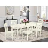 7-Piece table and chair set with one Dover dining room table and 6 dining room chairs in a Linen White Finish