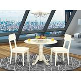 DLAD3-WHI-LC 3 PC Dublin kitchen table set-Dining table and 2 Faux Leather Kitchen chairs