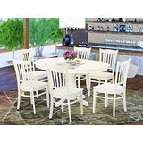 East West Furniture dining room table set 6 Excellent wood chairs - A Beautiful dining room table- Linen White Color Wooden Seat Linen White Butterfly Leaf dining table