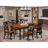 7-Piece table and chair set with one Dover dining room table and 6 dining room chairs in a Black and Cherry Finish