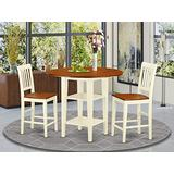 5 Piece Sudbury Set With One Round Counter Height Dinette Table And 4 Slat Dinette Stools With Wood Seat In A Rich Buttermilk and Cherry Finish.