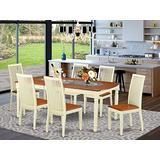 7-Piece table and chair set with one Dover dining room table and 6 dining room chairs in a Buttermilk and Cherry Finish