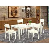 5 Piece Dining Room Set With A Single Logan Dinning Table And 4 Wood Seat Kitchen Chairs Finished In A Elegant Linen White Color.