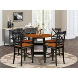 5 Piece Sudbury Set With One Round Counter Height Dinette Table And 4 X back Dinette Stools With Wood Seat In A Elegant Black and Cherry Finish.