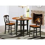 3 Piece Sudbury Set With One Round Counter Height Dinette Table And 2 Napolian Dinette Stools With Wood Seat In A Elegant Black and Cherry Finish.