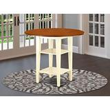 Sudbury round counter height Table with two shelves in Buttermilk & Cherry finish