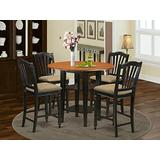 5 Piece Sudbury Set With One Round Counter Height Dinette Table And Dinette Stools With Cushion Seat In A Elegant Black and Cherry Finish.