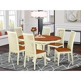 East West Furniture dining room table set 6 excellent wood dining chairs - A Wonderful modern dining table- cherry Color Wooden Seat cherry and buttermilk Butterfly Leaf modern dining table