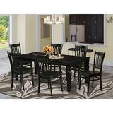 Darby Home Co Beldin 7 Piece Butterfly Leaf Solid Wood Dining Set Wood in Black | Wayfair DABY5558 39638867