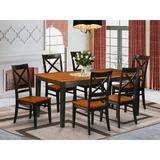 August Grove® Cleobury 7 Piece Butterfly Leaf Solid Wood Dining Set Wood in Black/Brown, Size 30.0 H in | Wayfair AGTG6527 44326903