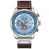 Men Watch Brown Leather Strap Chronograph Analog Quartz Watch Business Casual Waterproof Wrist Watch