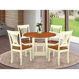5 Piece Sudbury Set With One Round Dinette Table And 4 Slat Back Dinette Chairs With Wood Seat In A Warm Buttermilk and Cherry Finish.