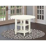 East West Furniture Sudbury Round Kitchen Table with Two Shelves, Medium, Linen White