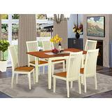 7-Piece Dinette set - Kitchen dinette table and 6 kitchen chairs in Linen White finish