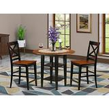 3 Piece Sudbury Set With One Round Counter Height Dinette Table And 2 X Back Dinette Stools With Wood Seat In A Elegant Black and Cherry Finish.