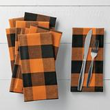 Orange Buffalo Check Napkins, Set Of Four Halloween Decoration - Grandin Road