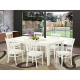 Darby Home Co Beldin 7 Piece Butterfly Leaf Solid Wood Dining Set Wood in White | Wayfair A2B91BB36D274694A6B657376CCFE83E