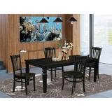 Darby Home Co Beesley 5 - Piece Extendable Rubberwood Solid Wood Dining Set Wood in Black, Size 30.0 H in | Wayfair