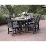 POLYWOOD® Vineyard 7 Piece Dining Set Plastic in Gray, Size 38.25 H x 38.5 W x 73.0 D in | Wayfair PWS407-1-GY