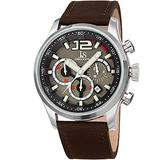 Joshua & Son's Men's Chronograph Sports Watch – Brown Leather Strap, Multifunction 60 Second and Minute Register, 24 Hour and Date Display – JX137BR