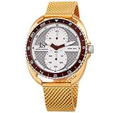 Joshua & Sons Designer Mens Watch – Polished Yellow Gold Tone Stainless Steel Mesh Bracelet Band –60 Second and 24 Hour Register Multifunction Sub-Dials - Unidirectional Diver's Bezel - JX136YG